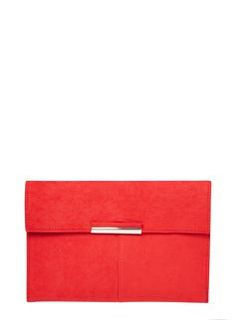 Red Faux Suede Clutch