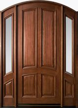 Classic Series Mahogany Solid Wood Front Entry Door - Single with 2 Sidelites - Wood Entry Doors, Arched Doors, Rustic Doors, Wooden Doors, Barn Doors, Entrance Doors, Custom Exterior Doors, Wood Exterior Door, Exterior Front Doors