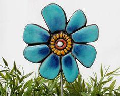 flower garden stake- garden sculpture - garden decor - ceramic and metal - garden art - plant stake - buttercup turquoise via Etsy
