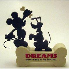 Hallmark Disney DYG9606 Dreams Mickey & Plute Cut-Out Sentiment