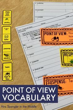 Are you preparing to teach R.CCR.6: Assess how point of view or purpose shapes the content and style of a text? Start with vocabulary for both fiction AND nonfiction!  Includes worksheets, word wall cards and a dominoes practice game!  #teaching #middleschool