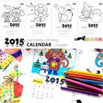 2015+Coloring+Calendar+–+animals