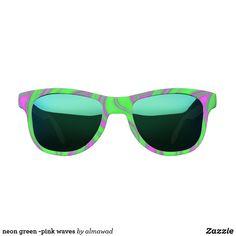 neon green -pink waves sunglasses