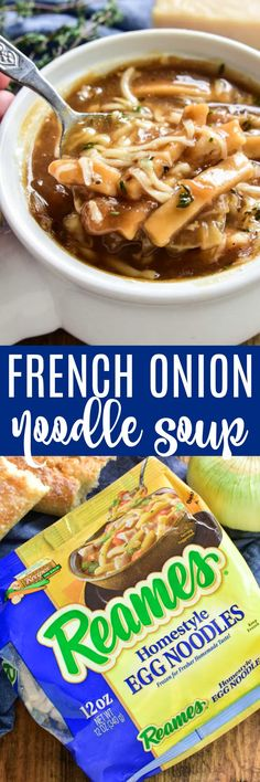 Take your love of soup to the next level with this delicious French Onion Noodle Soup. All the flavors of the classic French Onion Soup, with the added bonus of noodles! This soup is thick, hearty, and packed with flavor. It makes a great weeknight dinner and is also perfect for serving to guests or cozying up to on a lazy fall weekend. If you love French Onion Soup, you're going to fall in love with this comforting, delicious twist! #Reames #HomemadeGoodness #ad @WFDRecipe