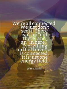 """We're all connected. We just don't see it. There isn't an 'out there' and an 'in here.' Everything in the Universe is connected. It is just one energy field."" ~ John Assaraf"