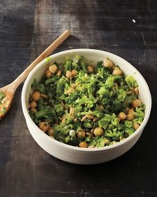 broccoli and chickpea salad.  Ingredients: 4 cups broccoli florets 15-oz can drained and rinsed chickpeas 5 sliced scallions 1/2 cup chopped fresh parsley 1/3 cup toasted pine nuts 1 minced clove garlic 2 tsp Dijon mustard 1 tsp honey 1 Tbsp grated lemon zest 1/4 cup lemon juice 6 Tbsp extra-virgin olive oil Coarse salt and freshly ground black pepper