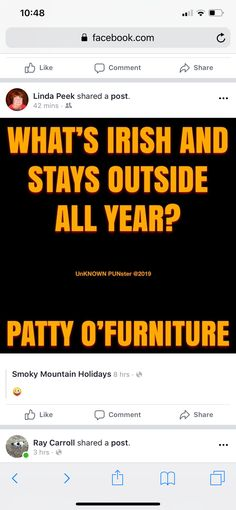 What's Irish and stays outside all year? The Effective Pictures We Offer You About Silly Jokes in hindi A quality picture can tell you many things. You can find the most beautiful pictures that can be Puns Jokes, Jokes And Riddles, Corny Jokes, Funny Puns, Dad Jokes, Funny Humor, Funny Stuff, New Year Quotes Funny Hilarious, Funny New Year