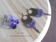 Macramé Earrings 'ANANDA'. Tribal Bohemian jewelry.