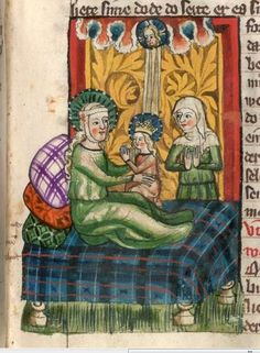 """""""Uggo Baby Daddy,"""" from 1362 Medieval Bed, Medieval Houses, Medieval Life, Medieval Fashion, Medieval Clothing, Medieval Furniture, Medieval Paintings, Medieval Manuscript, Blue Pillows"""