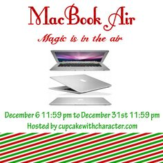 MacBook Air Giveaway! http://www.thesweetestplan.blogspot.com/2013/12/macbook-air-holiday-giveaway.html