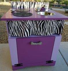 Zebra Print and Purple.  $120. A unique custom kitchen for your spunky little girl.