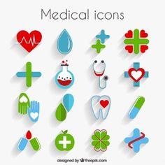 Ícones médicos bonitos no design plano
