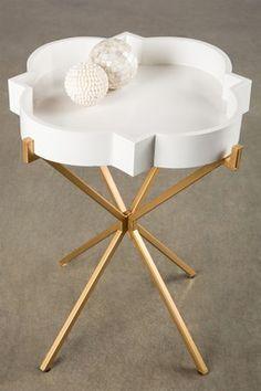 Joslyn Gold & White Side Table