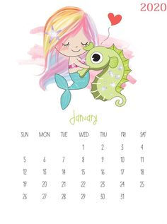 Today we have an adorable Free printable 2018 Kawaii Mermaid Calendar that you are simply going to adore! Cuteness overload awaits you! January Calendar, Excel Calendar, Print Calendar, Kids Calendar, 2019 Calendar, Calendar Design, Creative Calendar, Free Calendar, Calendar Ideas