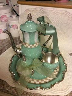 Silver Plated tea set/Custom Painted by macnme on Etsy Mckenzie And Childs, Silver Tea Set, Teapots And Cups, Chocolate Pots, Vintage Tea, Afternoon Tea, Silver Plate, Silver Trays, Tea Time