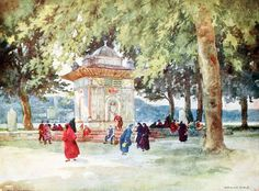 """'A Fountain by the Bosporus' from """"Constantinople painted by Warwick Goble"""" (1906)"""