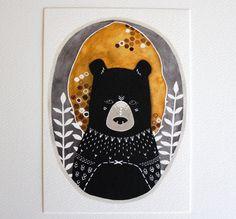 Bear Illustration Watercolor Painting - Black Friday Cyber Monday - Large Archival Print - 11x14 Rafi the Honey Bear. $40.00, via Etsy.
