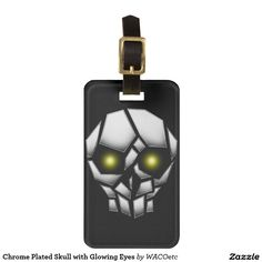 Chrome Plated Skull with Glowing Eyes Tag For Bags