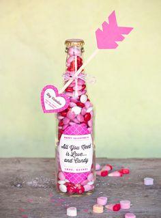 Valentine Candy Bottles & DIY Heart Arrows #valentine #craft #candy #gift #handmade #diy