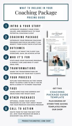 Coaching Package Template — Productive and Free - business marketing ideas Coaching Personal, Life Coaching Tools, Online Coaching, Personal Trainer, Sales Coaching, Confidence Coaching, Business Planning, Business Tips, Business Coaching