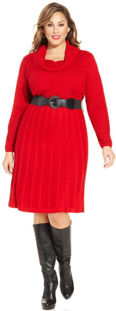 AGB Plus Size Belted Sweater Dress