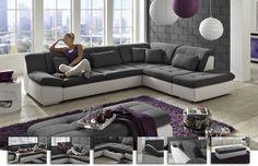 modernes Ecksofa Dreamer | Du brauchst viel Platz zum Entspannen & Verstauen? Dann bist du bei diesem Ecksofa genau richtig. Neben einer großen Liegefläche, einer Schlaffunktion und vielem mehr verfügt es über ausziehbare Schubkästen. #bigsofa #white #silver #MoebelLETZ