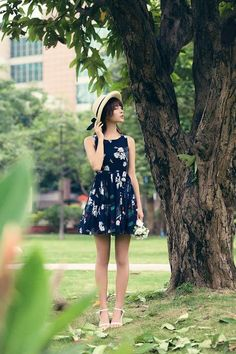 Japanese fashion cherry fruit printed pleated bow sling dress - AddOneClothing - 1