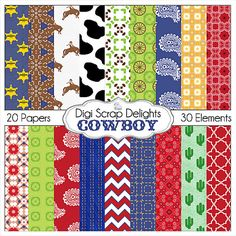 Cowboy Clip Art Cowboy Digital Papers by DigiScrapDelights on Etsy