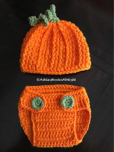 Newborn Pumpkin photo prop, newborn halloween gift, halloween, fall, babyshower gift, crochet pumpkin outfit, newborn diaper set, hat set by AshleyHooksAtNight on Etsy https://www.etsy.com/listing/557627821/newborn-pumpkin-photo-prop-newborn