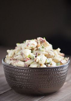 Bacon Ranch Pasta Salad is a simple side dish recipe that pairs well with your favorite steak, chicken or seafood recipe. | This Gal Cooks