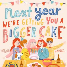 Big Birthday Cake, Happy Birthday, Pattern Illustration, Digital Illustration, Birthday Cake Illustration, Mood And Tone, Big Cakes, Kids Patterns, Vintage Greeting Cards