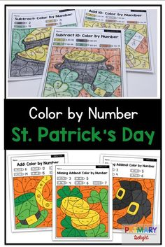 Color by Number for St. Patrick's Day: Addition and Subtraction Teaching First Grade, First Grade Classroom, First Grade Math, Elementary Teaching, Second Grade, Kindergarten Games, Fun Math Games, Math Activities, Math Stations