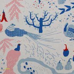 Watashino Niwa Fabric in Blue Orla Kiely Fabric, Marimekko Fabric, Curtain Fabric, Curtains, Interior Design Advice, Contemporary Fabric, Designers Guild, Japanese Fabric, Home Decor Fabric