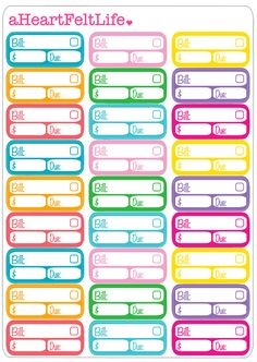 Free Printable Planner Stickers - Bill Due - Large Happy ...