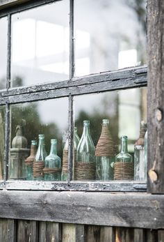 Beautiful Vintage Style, Sea Glass Bottles In The Window! Images