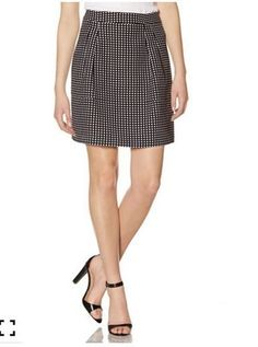 NWT The Limited Black and White Polka Dot Fit & Flare Skirt Size 6 Multi-Color #TheLimited #Pleated