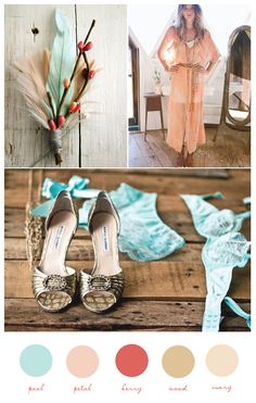 Aqua, Blush Pink, Butter Yellow, Brass, Camel, Coral | Wedding Inspiration. THIS IS IT!! I really like the twist to just coral and teal.... Which btw is what everyone is doing.