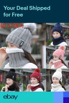 73444096310a63 US Snow Beanie PomPom Hat Women Thick Warm Soft Cable Scarf Winter Knit  2pcs Set