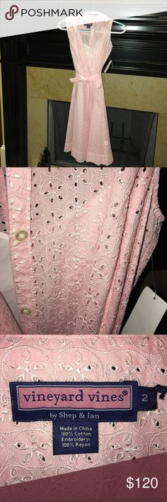 NWT Vineyard Vines Pink Dress NWT Vineyard Vines Gorgeous Pink Eyelet Seabreeze Shirt Dress Size 2 with full white slip underneath also made by Vineyard Vines...offers always welcome Vineyard Vines Dresses Midi