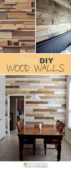 Madeira ou vinil com estampa de madeira nas paredes podem dar um efeito incrível para a sua  decoração