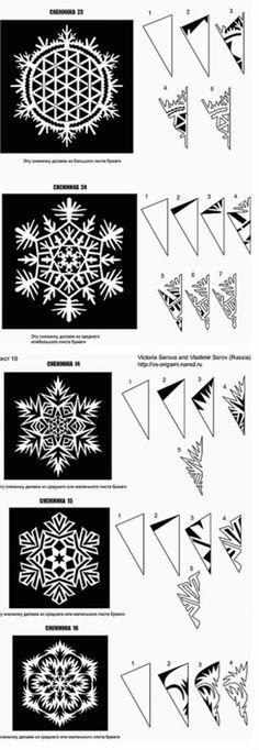 Tutorial para hacer bellos copos de nieve, de papel. Con Plantillas.