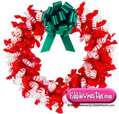 Candy Wreaths-This mouth watering candy wreath is a mixture of Cinnamon Hard Candy and Starlight Peppermint Mints making a yummy treat and a great Christmas gift to hang in your house, office or purchase for someone else special. Put your order in before Christmas is here.