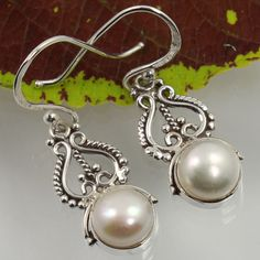 925 Solid Sterling Silver Real PEARL Round Gemstones Ethnic Collection Earrings #Unbranded #DropDangle