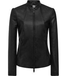 Serge Black Slim-Fit Leather Jacket - REISS