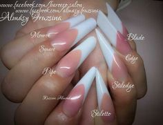 French manicure-New nail shapes,not your regular old round or square to k from. Some of these new ones look alike though. Round Nails, Oval Nails, French Manicure Nails, Stiletto Nails, Almond Shape Nails, Almond Nails, Beautiful Nail Art, Gorgeous Nails, Nail Tech School