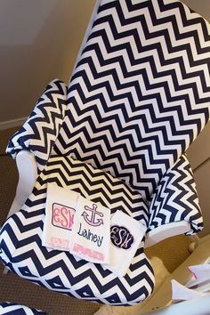 Project Nursery - Girl Black and Pink Nautical Nursery Chevron Chair