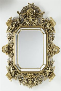 Ferdinand Barbedienne : Monumental Mirror by Constant Sévin, realized by the Barbedienne Foundry in Orsay Museum, Paris. Decoration Baroque, Small Mirrors, Antique Mirrors, Antique Frames, Trumeau, Grand Luxe, Famous Sculptures, Old Frames, Shades Of Gold