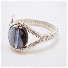 Adjustable wire wrapped ring woven wire ring sterling wire