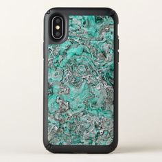 Faux Silver Teal Turquoise Minerals Agate Pattern Speck iPhone X Case - modern style idea design custom idea