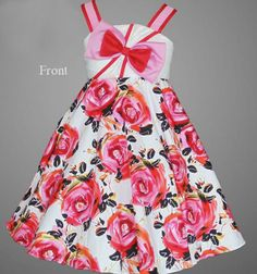 Free Shipping Floral Balloon Cotton Red Dress -Red